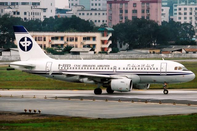 CNAC Zhejiang Airlines | Airbus A319 | B-2223 | Guangzhou Baiyun (old)