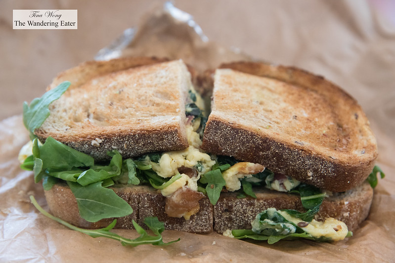 Green Egg sandwich - Sautéed Kale + Spinach, Avocado, Scrambled Egg on Multigrain Toast