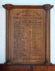 Diss Grammar School WW1 memorial