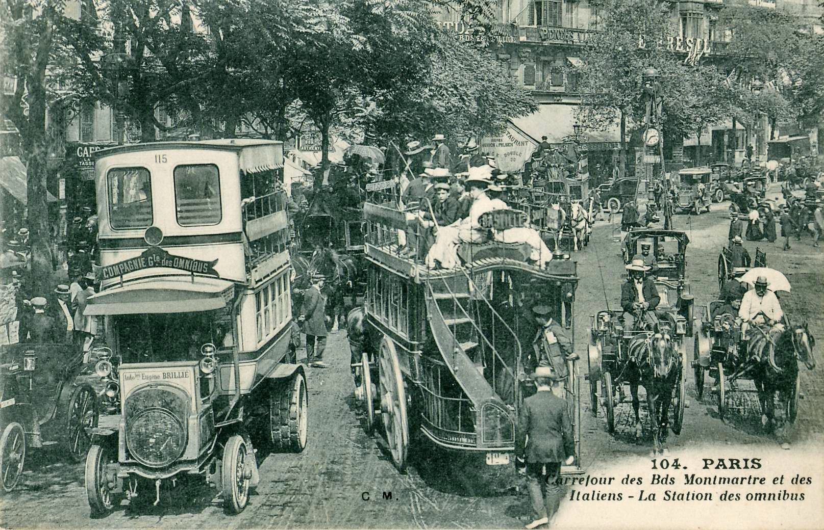 Omnibus station at the crossroads of Montmartre and Italian Boulevards, Paris, France