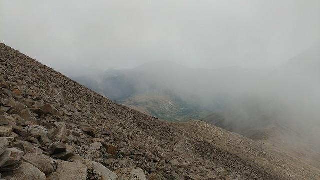 Mount Democrat, 3400 meters, in a cloud