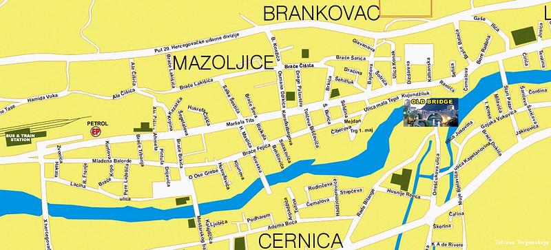 Карта Мостара с улицами