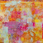 Patricia Aaron; Creamsicle;  Encaustic and mixed media on panel; 60x48; 2018 - Connected by Color at the Arvada Center