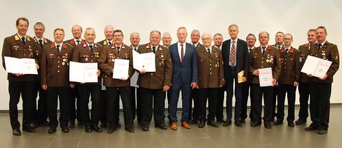 Auszeichnung von verdienten Sprengbefugten des Landesfeuerwehrkommandos Oberösterreich mit der Verdienstmedaille in Silber am 12 Juni 2018 in Linz