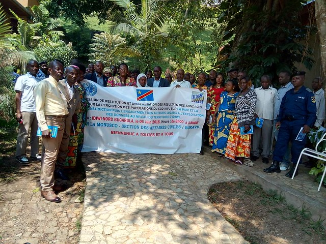 Caption: Bukavu, South Kivu, DR Congo – The MONUSCO civil affairs section organized in the territory of Idjwi, in the BUGARULA group, a session to review the results of polls on the perception of the populations of the South -Kivu on peace, protection and