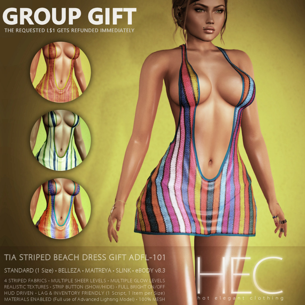 HEC (teleporthub.com GROUP GIFT) • TIA Striped Beach Mini-Dress GIFT ADFL-101 - TeleportHub.com Live!