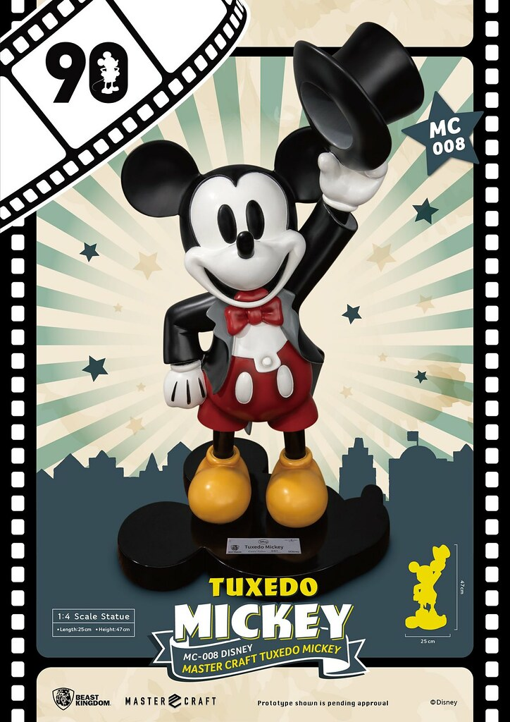 歡慶米奇誕生90 週年的高水準之作!! 野獸國 Master Craft 系列 迪士尼【燕尾服米奇】Tuxedo Mickey 1/4 比例全身雕像作品