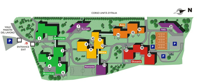 Map of the Turin campus of the International Training Centre of the International Labour Organization. The former U-Thant Pavilion is numbered 1 and is currently called the Americas Pavilion 1.