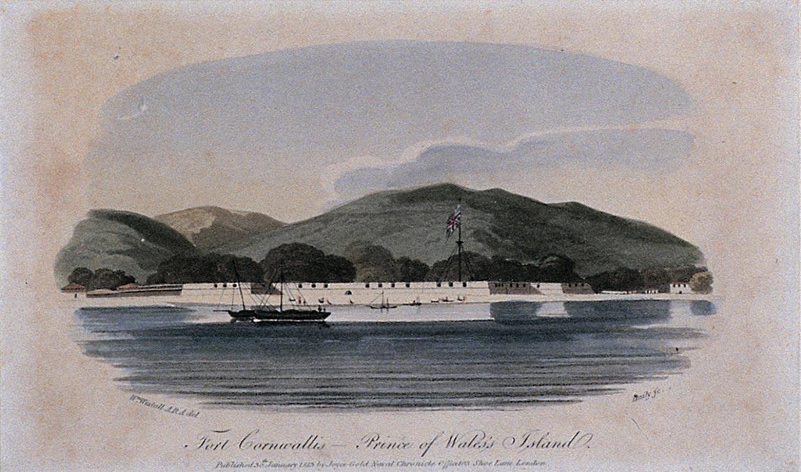 Engraving of Fort Cornwallis on Prince of Wales Island (Penang Island),, 1804