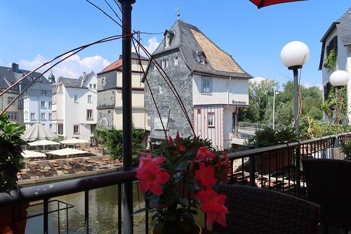 Blick von der Terrasse des Brauerei-Ausschanks Wolpertinger in Bad Kreuznach