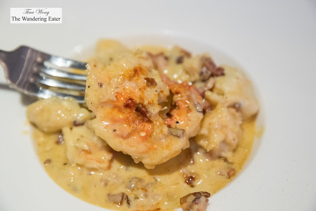 Greek style gnocchi, bacon, cheese sauce and lobster
