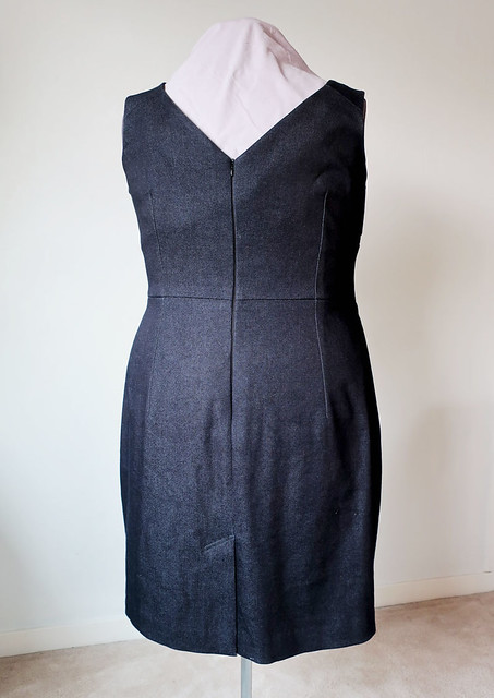 black denim dress back view