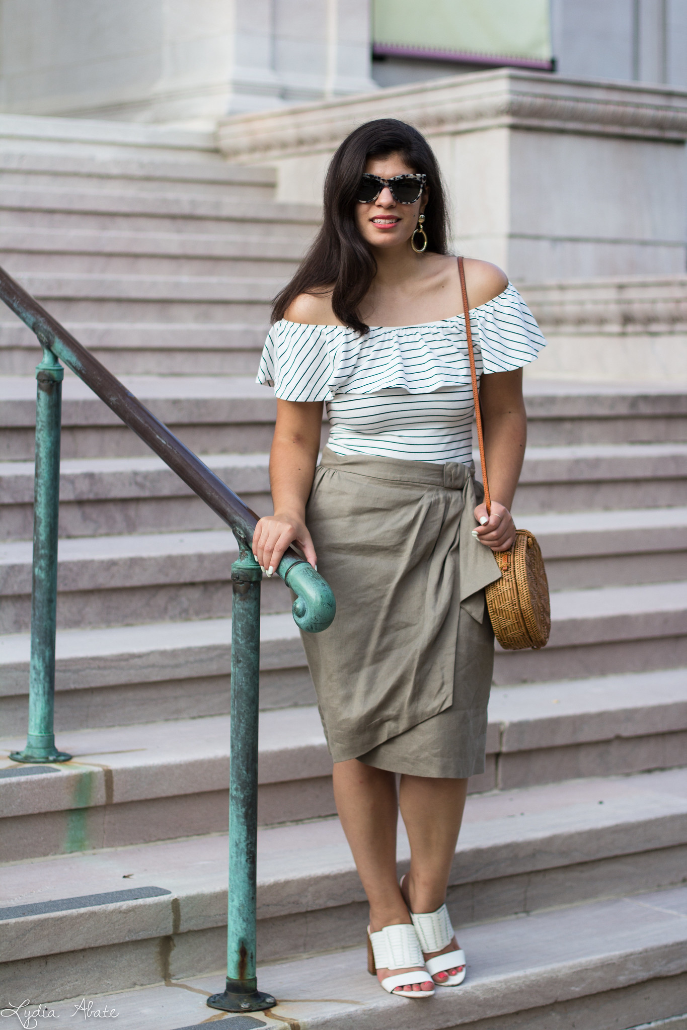 Striped off the shoulder top, wrap skirt, white mules, round straw bag-8.jpg