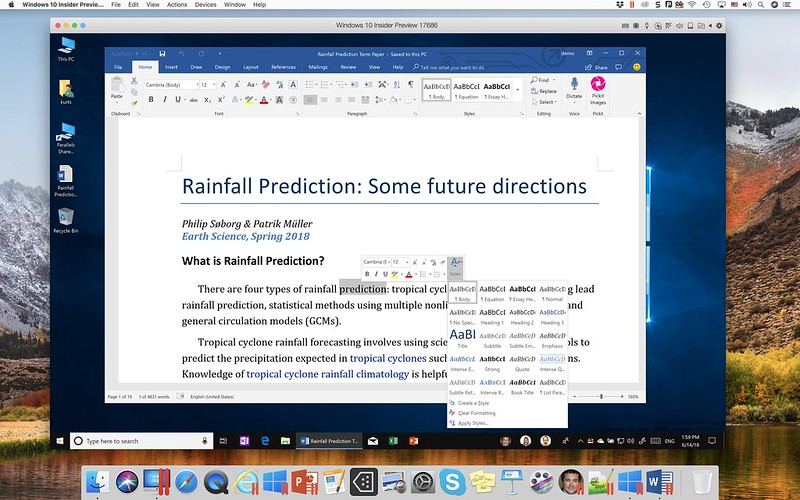Parallels Desktop 14 for Mac - Microsoft Word On Windows 10