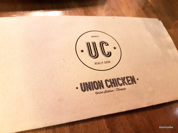 Union Chicken menu