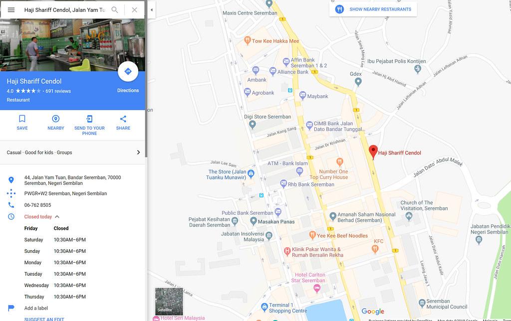 Haji Shariff Cendol, Jalan Yam Tuan, Bandar Seremban, Seremban, Negeri Sembilan