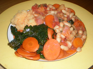 White Bean Cassoulet; Balsamic-Glazed Carrot and Kale; Mashed Potatoes and Company