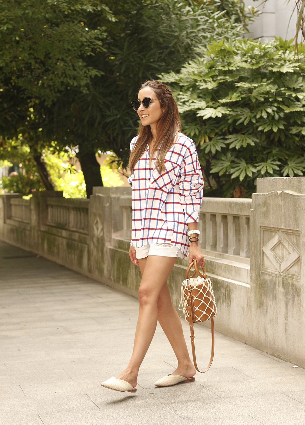 oversize plaid shirt denim shorts white mules street style summer outfit 201809