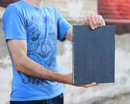 Faux leatherette sketchbook, sized HUGE! No animals harmed in the making of this book (=^・ω・^=). Artist Crystal Shaulis, Lake Michigan Book Press