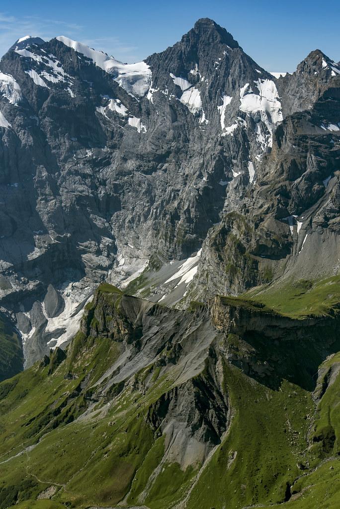 Tschingelhorn, Tschingelspitz, and Gspaltenhorn from Schilthorn