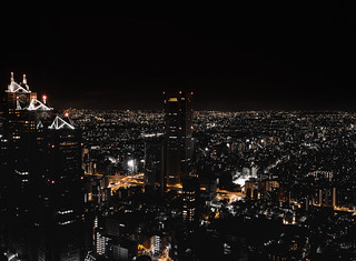 View from the free observation deck at the Metropolitan Government Building in Tokyo