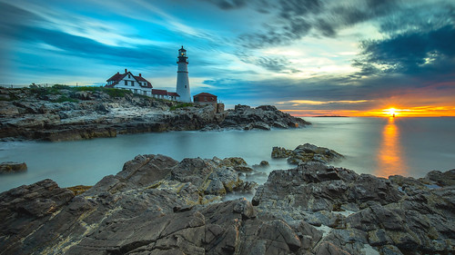 maine portland head light lighthouse sunrise capeelizabeth longexposure
