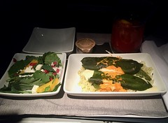 American Airlines First Class Dinner