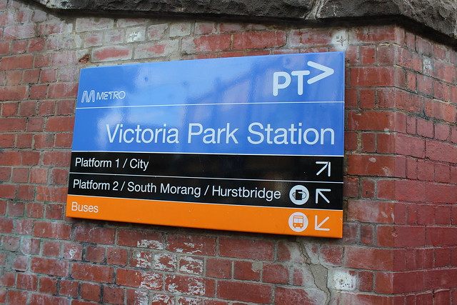 Victoria Park Station sign on Johnston Street, Abbotsford