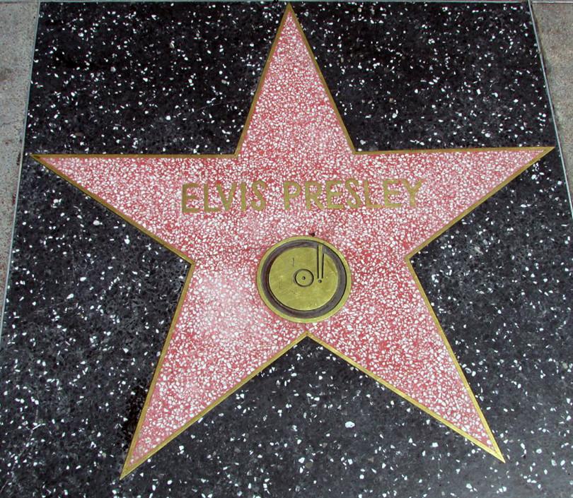 Elvis Presley Hollywood Walk of Fame Star at 6777 Hollywood Boulevard. Photo taken on April 9, 2015.