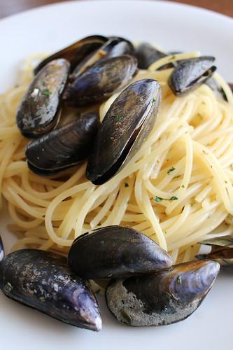 今日のパスタ ムール貝のスパゲッティ