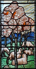 spring: sheep beneath an apple tree in blossom (Powell & Sons, 1936)