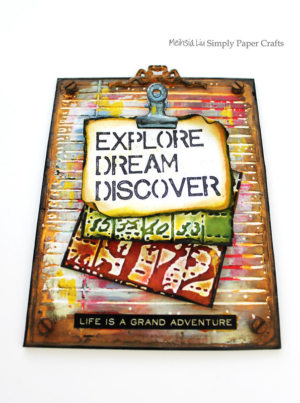 Meihsia Liu Simply Paper Crafts Note Holder Back to School Simon Says Stamp Tim Holtz Explore Dream Discover 2