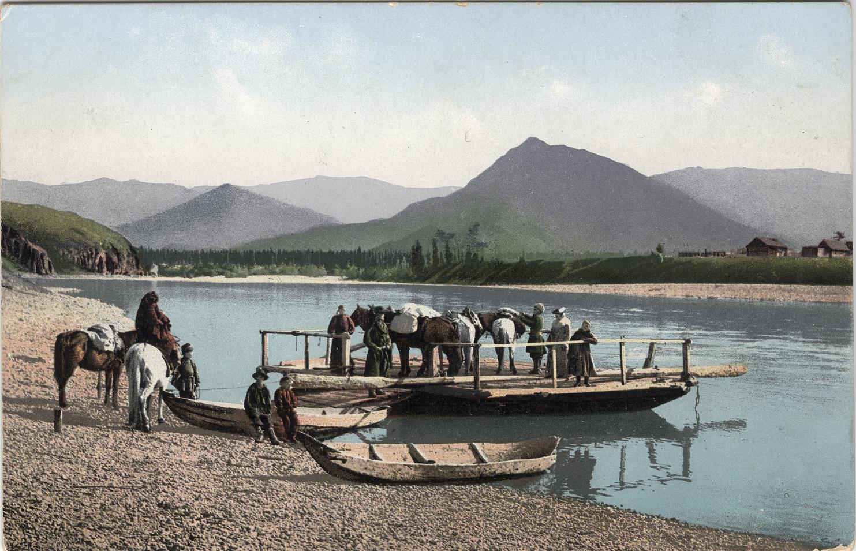 Паром на реке Катунь у села Нижний Уймон