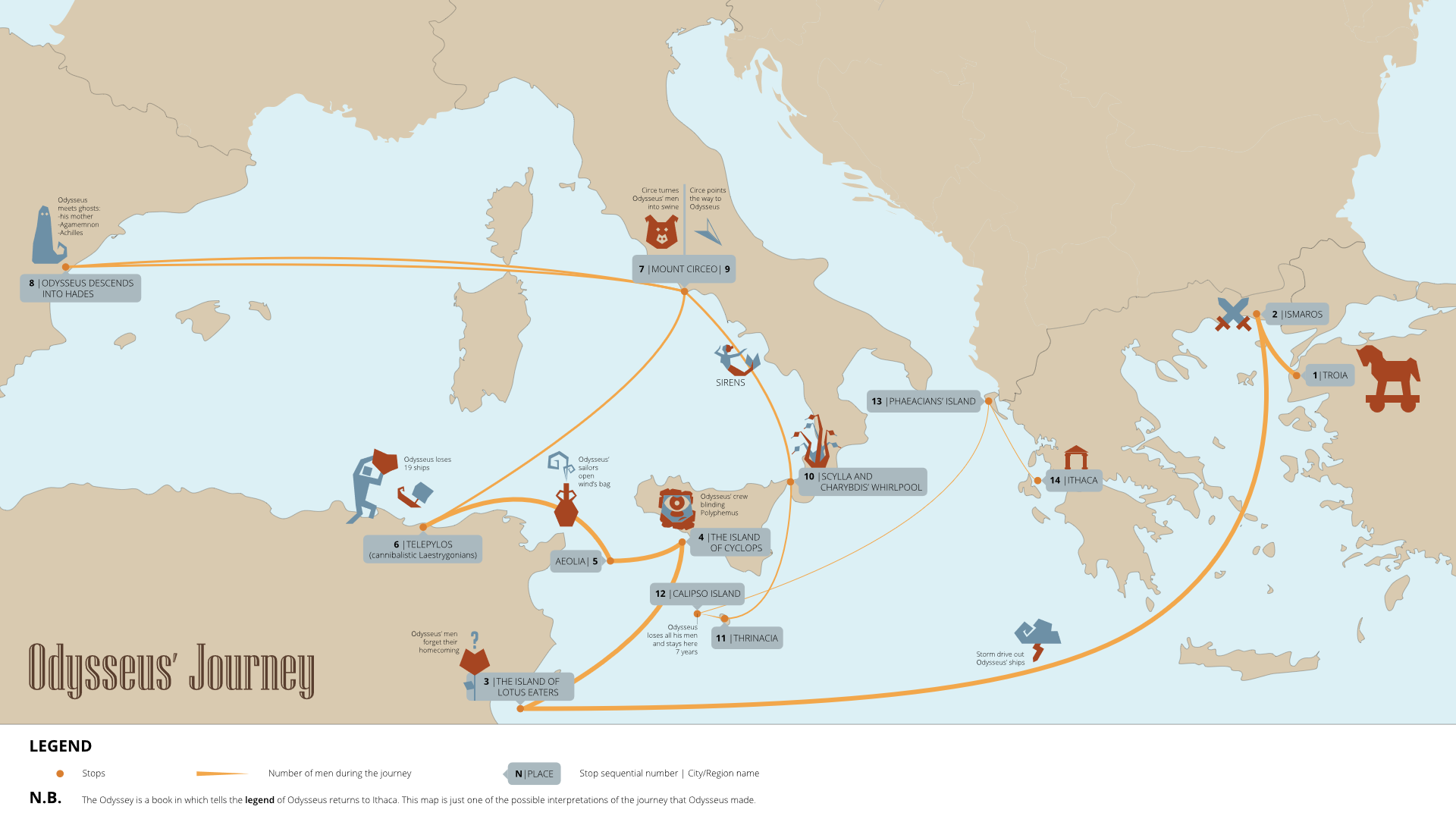 Map of Odysseus' journey home following the Trojan War.