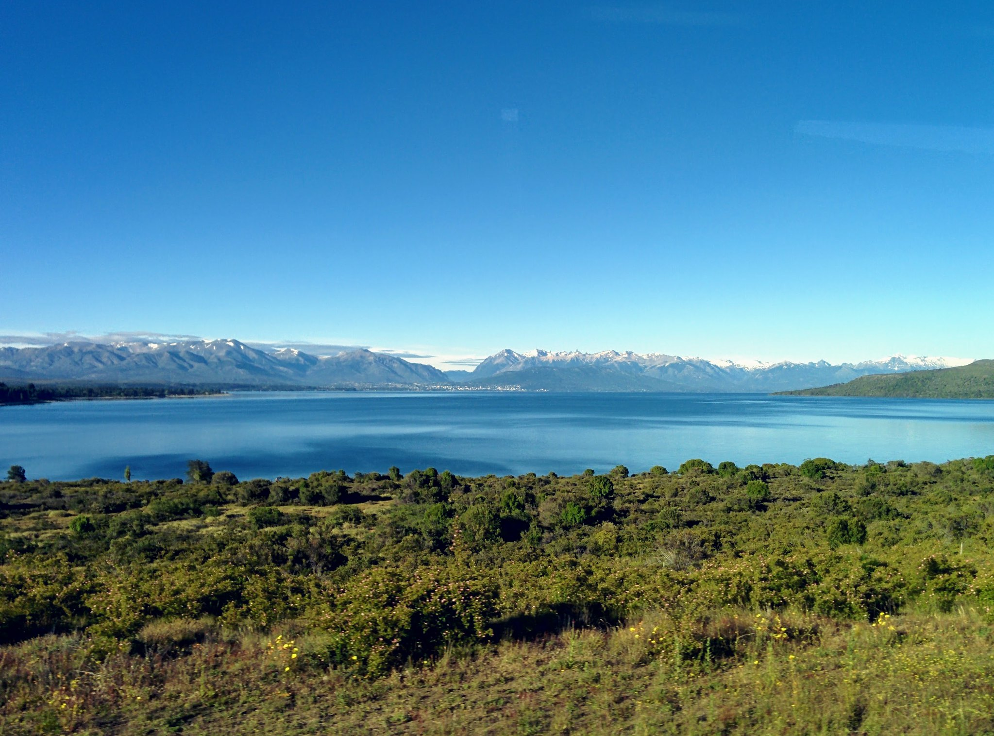 Bariloche in the distance from Northbound bus