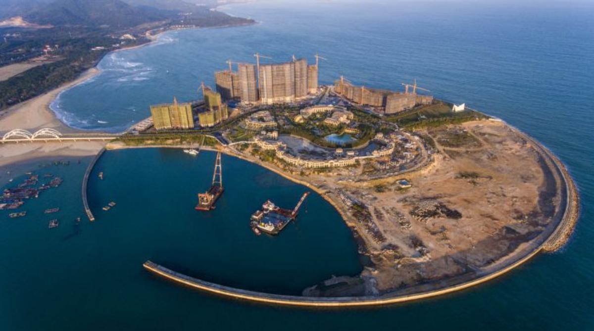 海南島未批先建的人工島已勒令停工  (圖片來源:中新社)