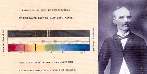 पॉग्सन द्वारा देखे गए स्पेक्ट्रम का हाथ से बनाया गया चित्र (बाएं) और वैज्ञानिक पॉग्सन (दाएं), चित्र : भारतीय ताराभौतिकी संस्थान