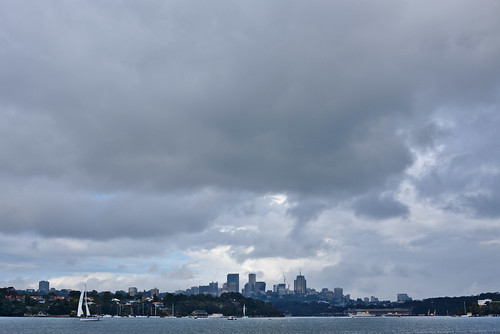 Clouds over North Sydney, from Cockatoo Island