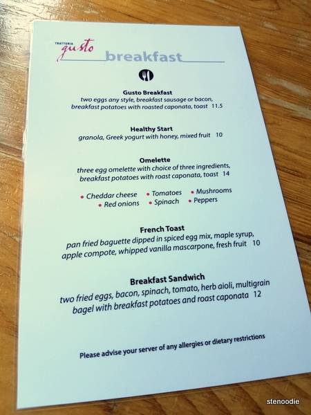Trattoria Gusto breakfast menu and prices