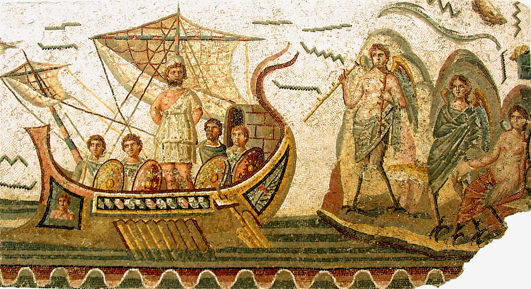 Odysseus and the Sirens, a Roman Ulixes mosaic at the Bardo National Museum ( لمتحف الوطني بباردو) in Tunis, Tunisia, 2nd century AD.