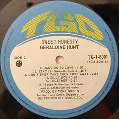 GERALDINE HUNT:SWEET HONESTY(LABEL SIDE-B)