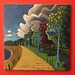 Red Walled Dinner Room Beaches Boardwalk Painting with Lampposts and Clouds and Sky