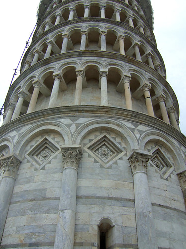 close up of the Leaning Tower of Pisa