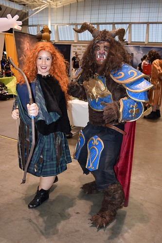 Merida and Beast cosplays at Fan Expo Boston 2018