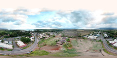 Haleiwa Town on O'ahu's North Shore as seen from 152 feet above the Liliuokalani Protestant Church - an aerial 360 degree Equirectangular VR