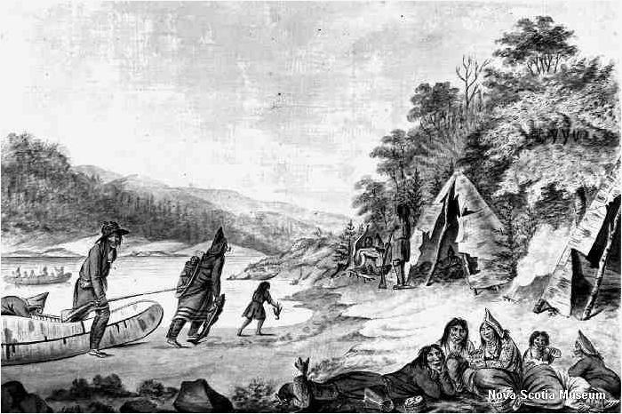 Mi'kmaw Encampment by Hibbert Binney, c.1791, Nova Scotia Museum