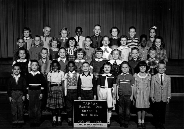 1958 Ravenna, Ohio, Tappan School grade 2 class pic - Tom Riddle is wearing the striped shirt in the front row.jpg