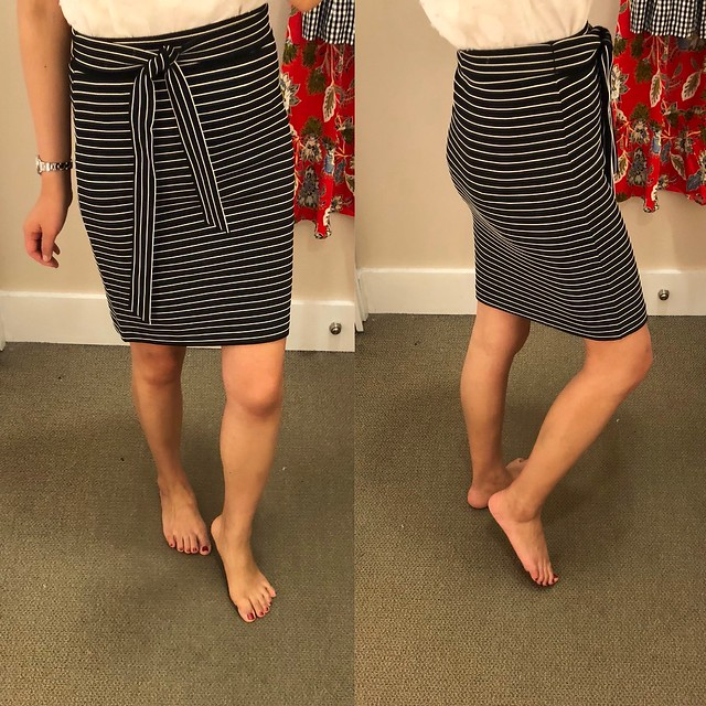 LOFT Striped Tie Waist Pencil Skirt, size XSP
