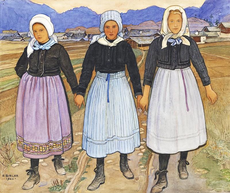 Ernest Biéler - Troisjeunes filles de Granois (1920)