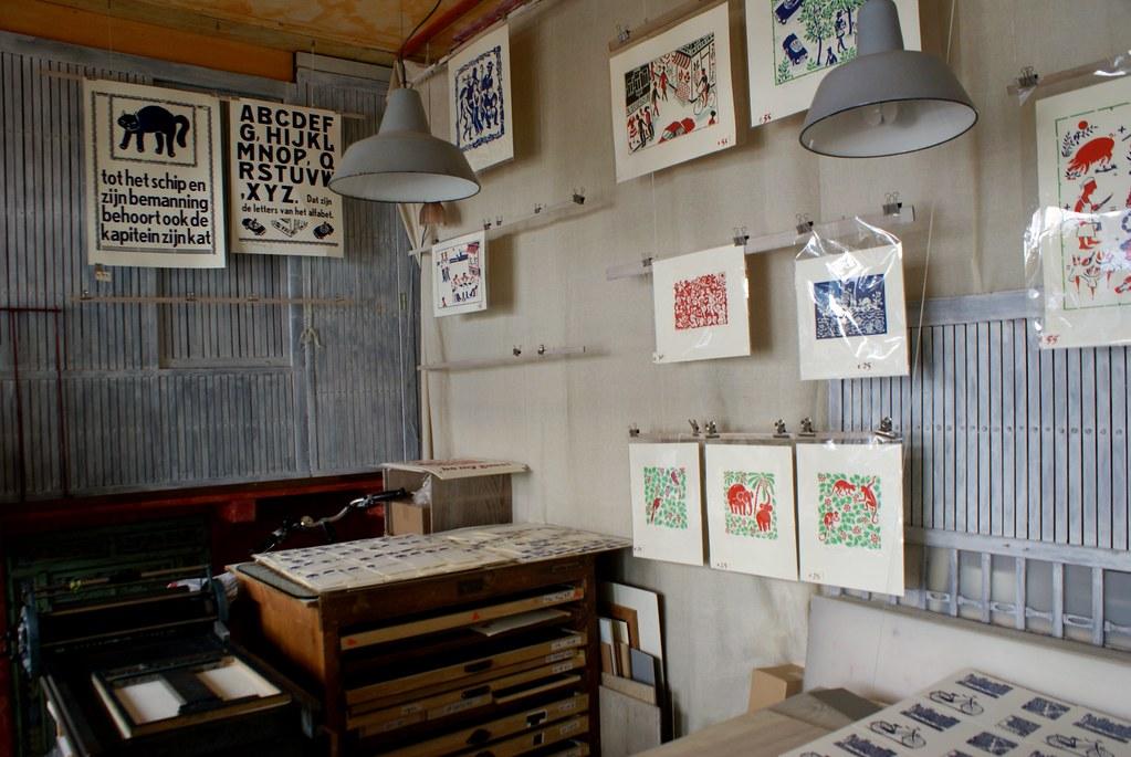 Atelier de sérigraphie et imprimerie Eddy Varekamp dans la Jordaan à Amsterdam.